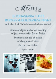 Jazz & pasta evening flyers 'boogie&bolognaise' 20-1-16